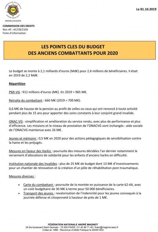 2104 fiche les points cles du budget des anciens combattants pour 2020