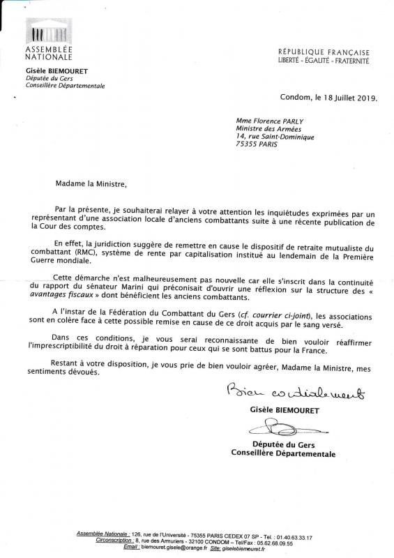 Lettre deputee ministre